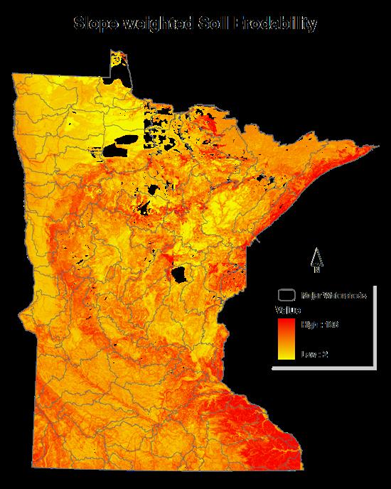 Soil erosion susceptibility minnesota dnr for Soil k factor