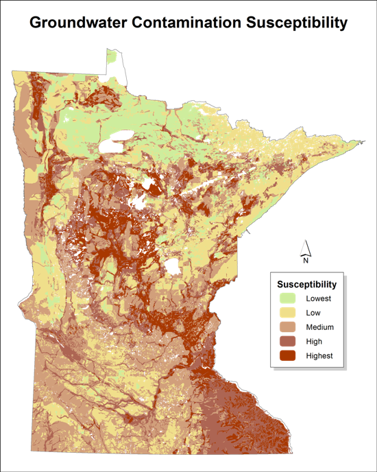 Groundwater Contamination Susceptibility Minnesota DNR - Ground water contamination us map