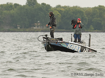 image of pro bass angler Seth Feider fishing on Mille Lacs Lake.