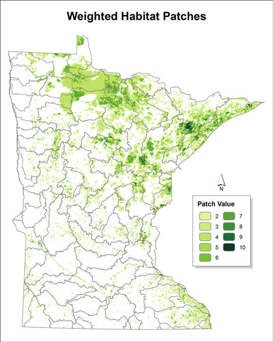 weighted habitat patches across minnesota, ranging from a patch value of 2 to 10